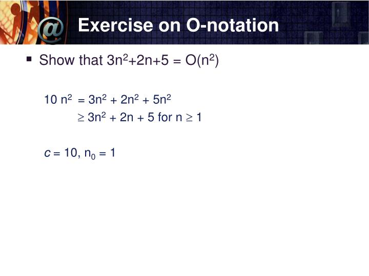 Exercise on O-notation