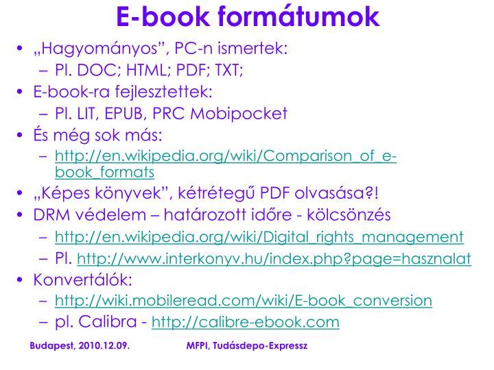 E-book formátumok