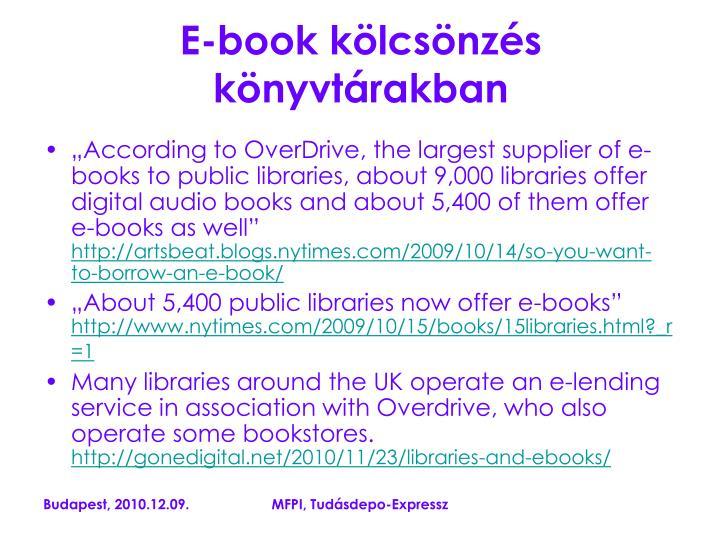 E-book kölcsönzés könyvtárakban