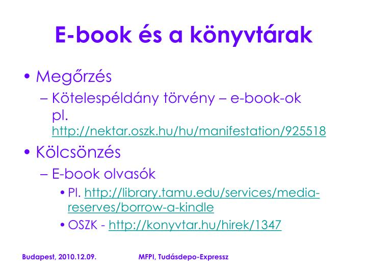 E-book és a könyvtárak