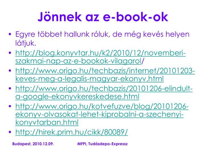 Jönnek az e-book-ok