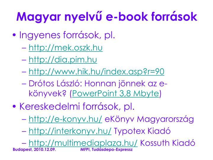 Magyar nyelvű e-book források