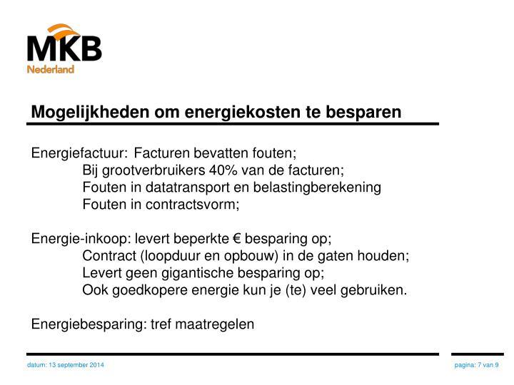 Mogelijkheden om energiekosten te besparen