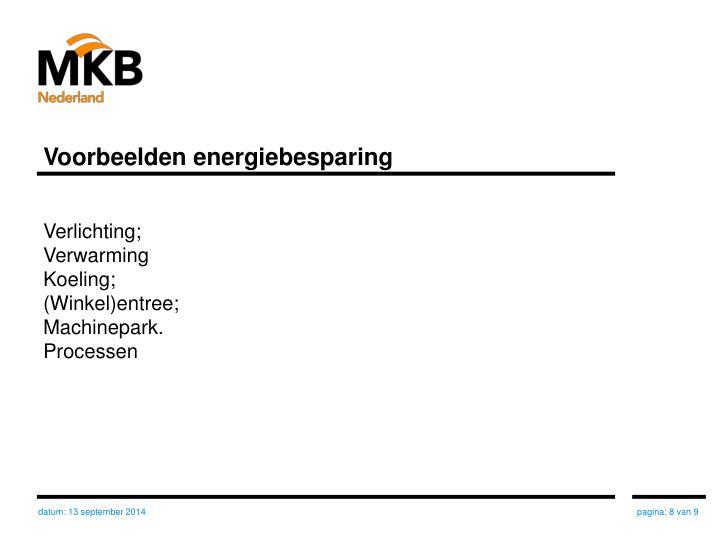 Voorbeelden energiebesparing
