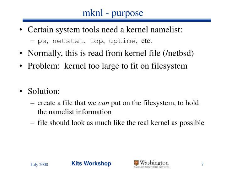 mknl - purpose
