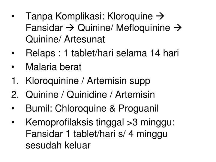 Tanpa Komplikasi: Kloroquine