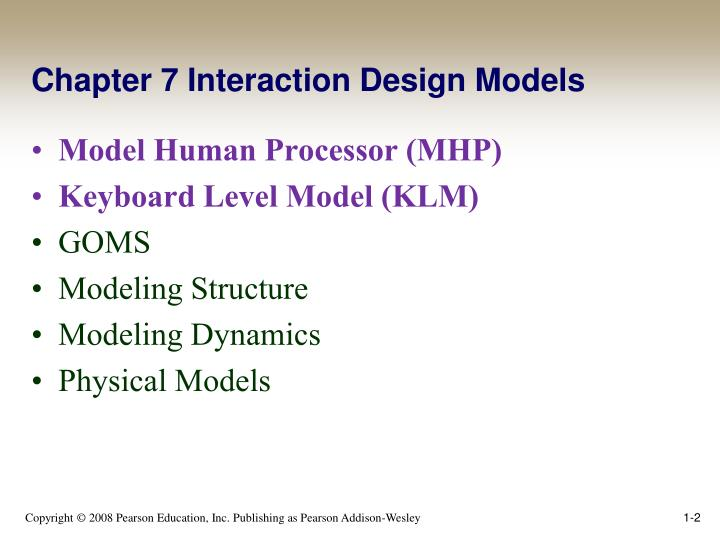 Chapter 7 Interaction Design Models