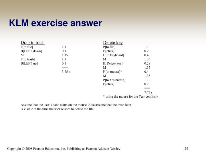 KLM exercise answer