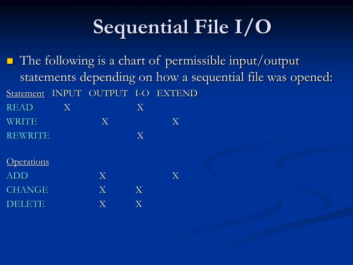 Sequential File I/O