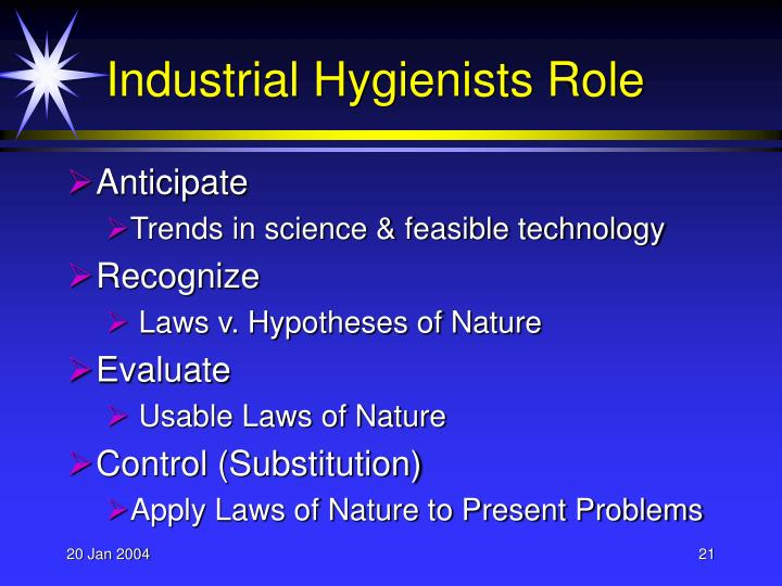 Industrial Hygienists Role