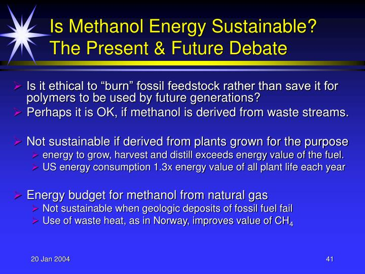 Is Methanol Energy Sustainable?