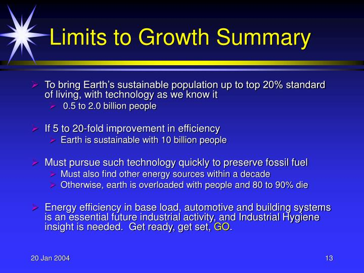 Limits to Growth Summary