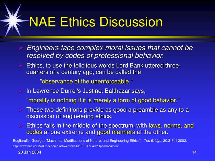 NAE Ethics Discussion