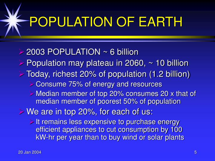 POPULATION OF EARTH