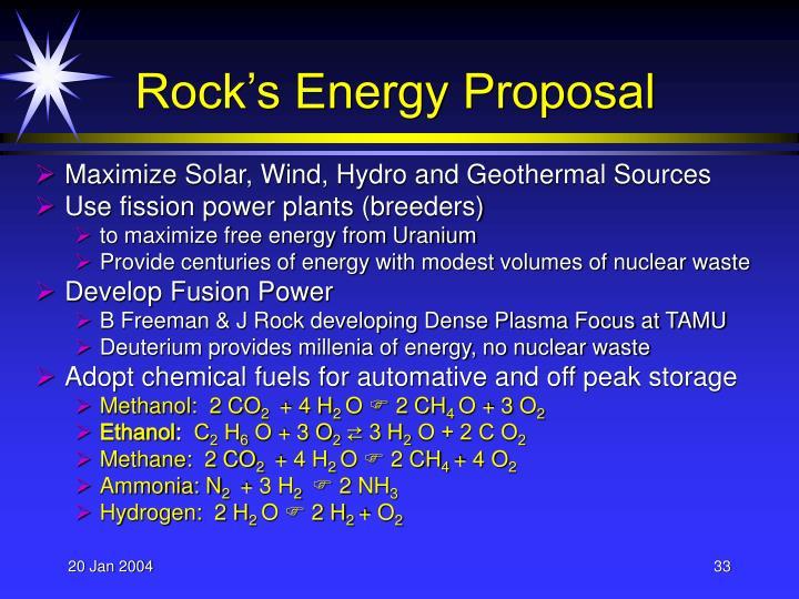Rock's Energy Proposal