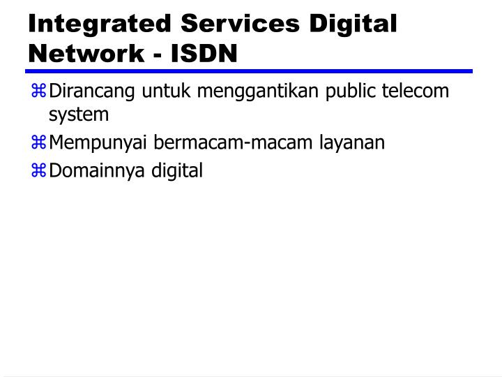 Integrated Services Digital Network - ISDN