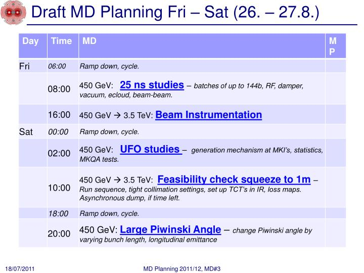 Draft md planning fri sat 26 27 8