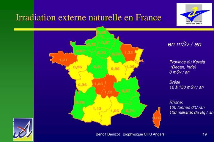 Irradiation externe naturelle en France