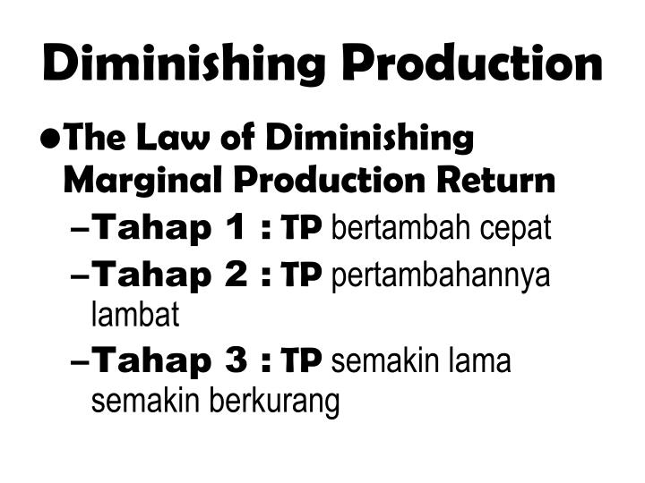 Diminishing Production