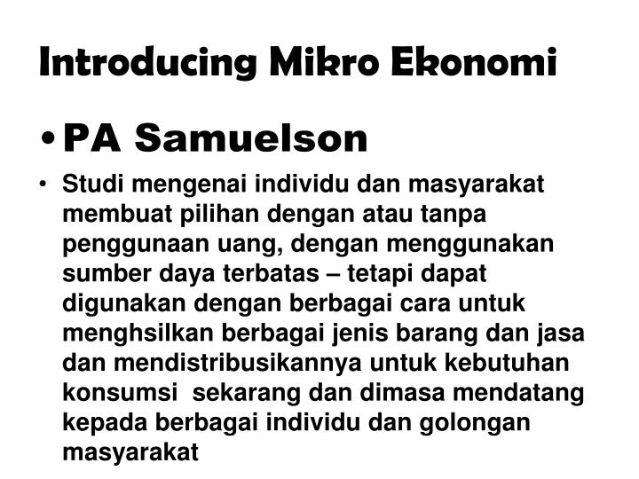 Introducing Mikro Ekonomi