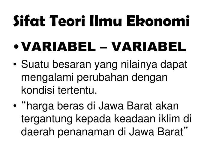 Sifat Teori Ilmu Ekonomi