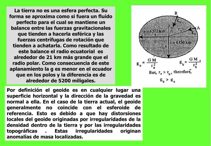 La tierra no es una esfera perfecta. Su forma se aproxima como si fuera un fluído perfecto para el cual se mantiene un balance entre las fuerzas gravitacionales que tienden a hacerla esférica y las fuerzas centrífugas de rotación que tienden a achatarla. Como resultado de este balance el radio ecuatorial  es alrededor de 21 km más grande que el radio polar. Como consecuencia de este aplanamiento la g es menor en el ecuador que en los polos y la diferencia es de alrededor de 5200 miligales.