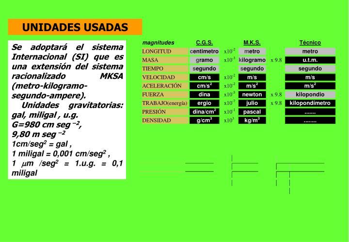 UNIDADES USADAS