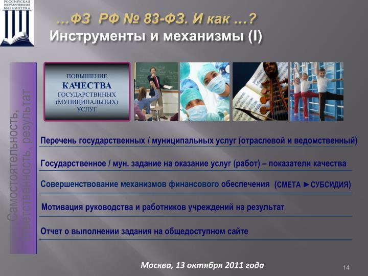 …ФЗ  РФ № 83-ФЗ. И как …?