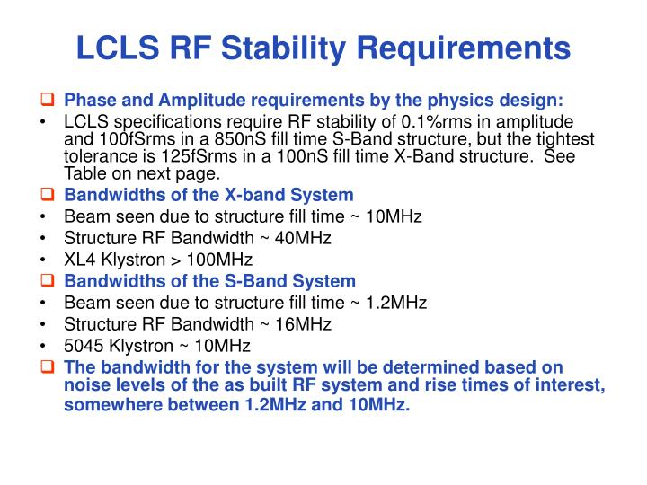 LCLS RF Stability Requirements