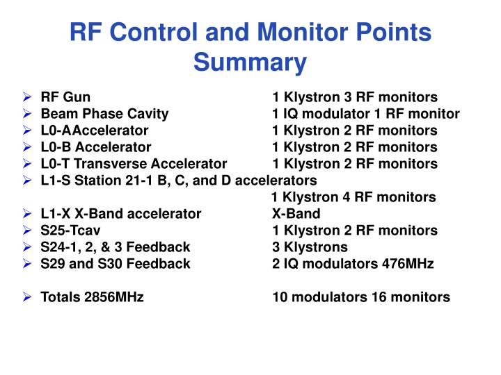 RF Control and Monitor Points Summary