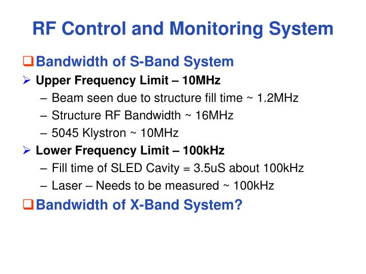 RF Control and Monitoring System