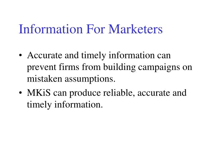 Information For Marketers