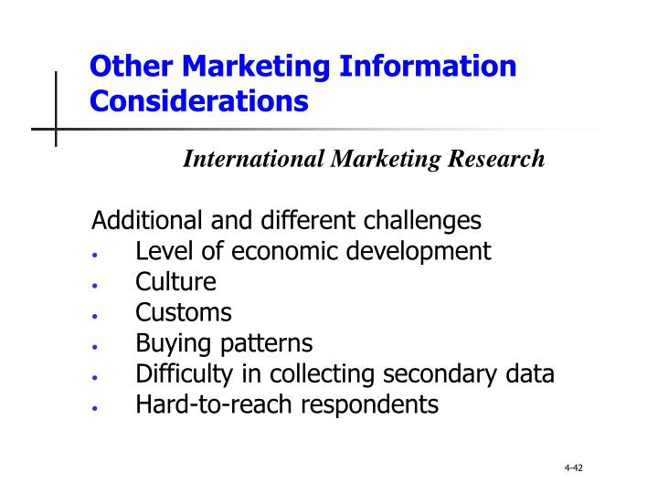 Other Marketing Information Considerations