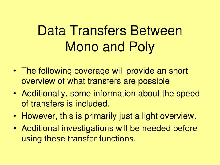 Data Transfers Between