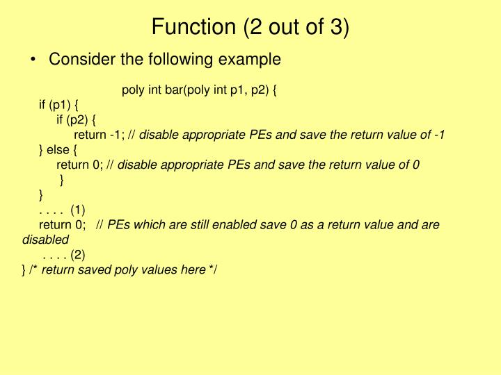 Function (2 out of 3)
