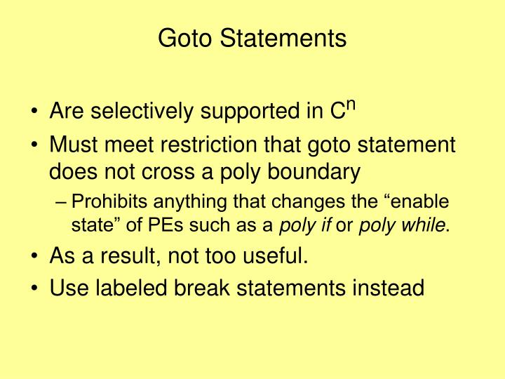Goto Statements