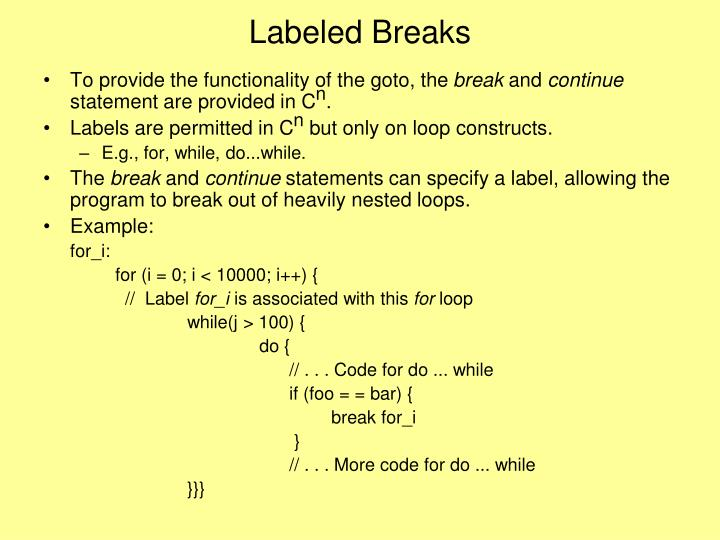 Labeled Breaks