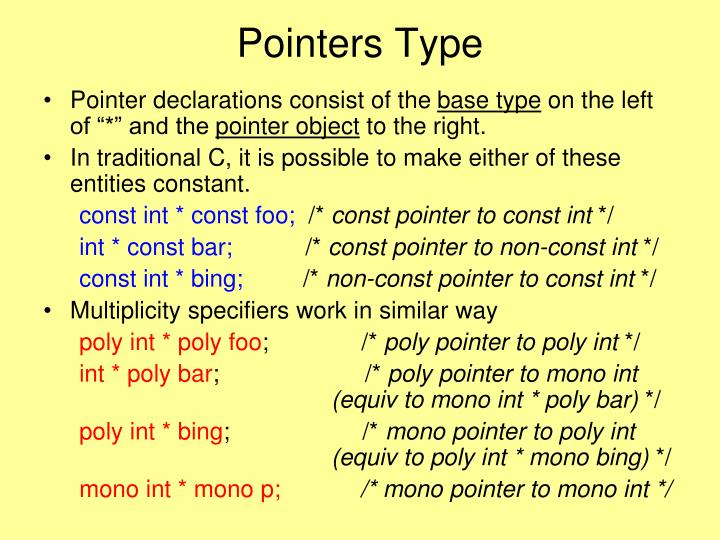 Pointers Type