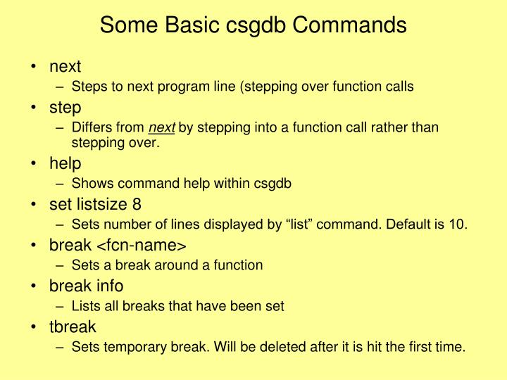 Some Basic csgdb Commands