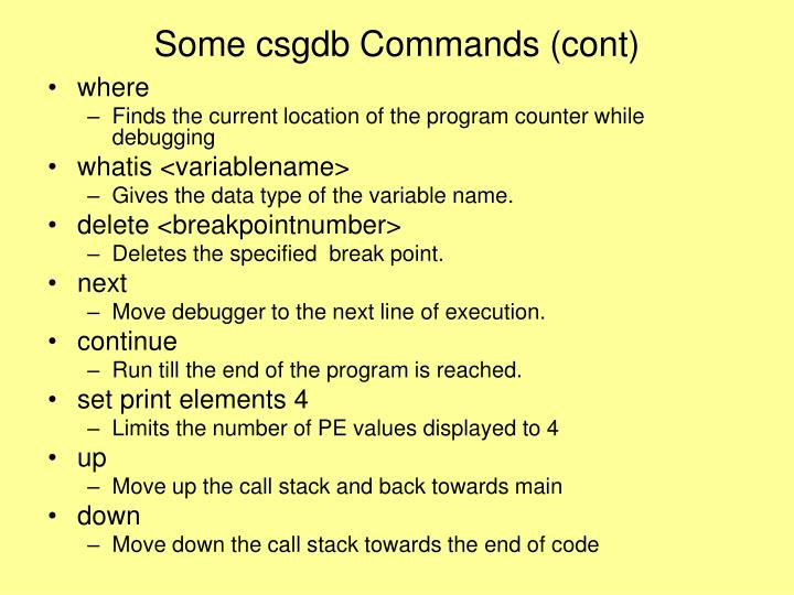 Some csgdb Commands (cont)