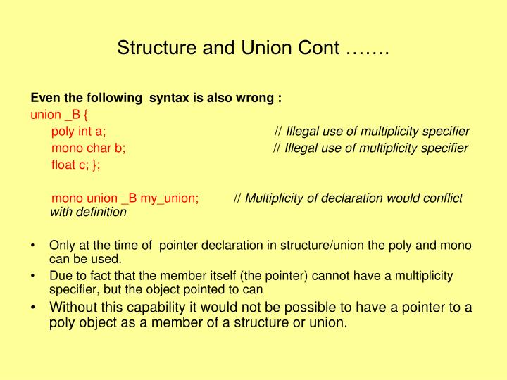 Structure and Union Cont …….