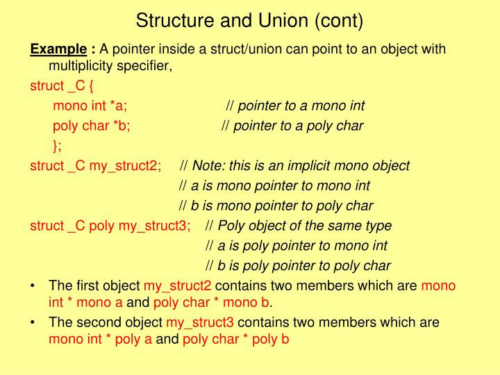 Structure and Union (cont)