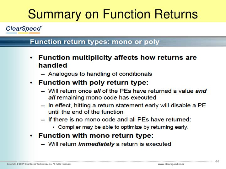 Summary on Function Returns