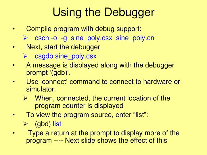 Using the Debugger