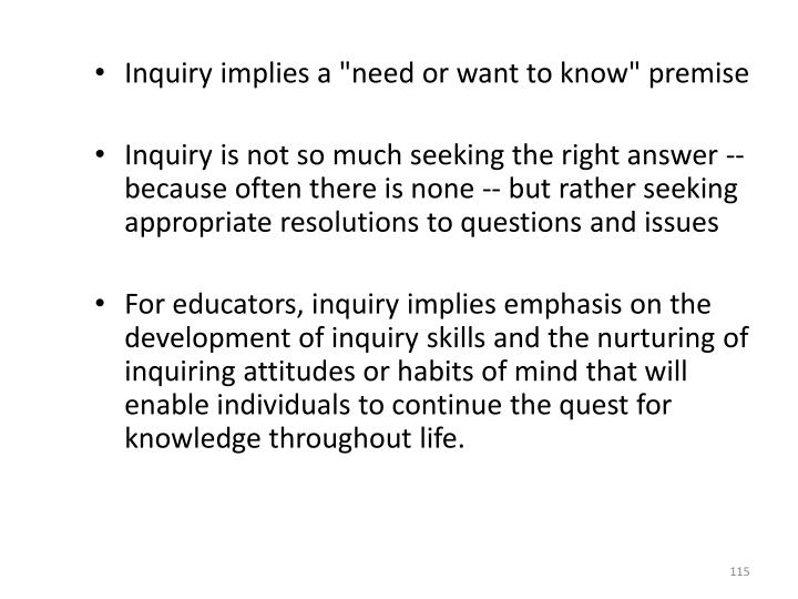 """Inquiry implies a """"need or want to know"""" premise"""