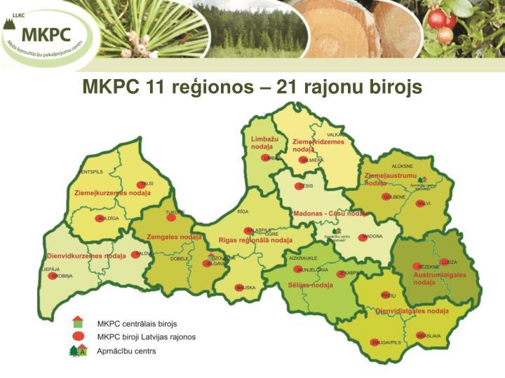 MKPC 11 reģionos – 21 rajonu birojs
