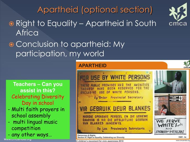 Apartheid (optional section)