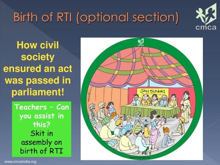 Birth of RTI (optional section)