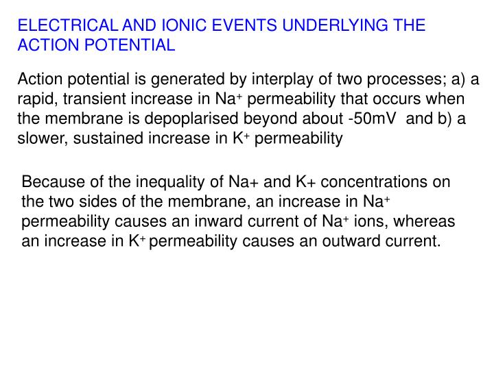 ELECTRICAL AND IONIC EVENTS UNDERLYING THE ACTION POTENTIAL