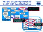 aster csci component role in ast exp event notification